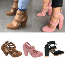 Women Block High Heels Lace Up Ankle Strap Pumps Ladies Party Office Shoes Size