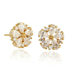 1 Pair Korean Jewelry 18K Gold Plated Charm CZ Flower Stud Earrings