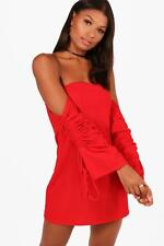 Boohoo Womens Akira Off the Shoulder Tie Sleeve Shift Dress