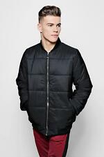 Boohoo Mens Black Quilted Jacket With Bomber Neck