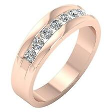 VS1 F Natural Diamond 0.65CTW 14Kt Solid Rose Gold Anniversary Wedding Ring Band