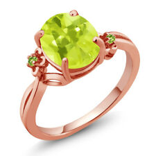 2.04 Ct Oval Yellow Lemon Quartz Green Simulated Peridot 14K Rose Gold Ring