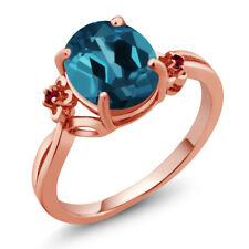2.83 Ct Oval London Blue Topaz Red Created Ruby 14K Rose Gold Ring