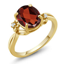 2.53 Ct Oval Red Garnet 18K Yellow Gold Plated Silver Ring