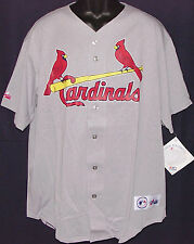 Vintage 90's MLB St. Louis CARDINALS Majestic JERSEY Grey NWT NEW Old Stock XL