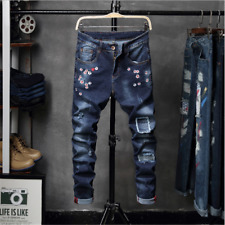 Stretchy Men's Jeans Destroyed Denim Pants Straight Pants Fashion Ripped jeans