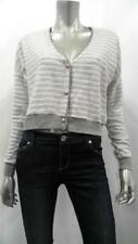 Maison Jules Misses Womens Terry Cardigan Sweater SZ XL Gray Ivory Striped Sale