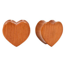 """PAIR ORGANIC Double Flared Carved Sawo Wood Heart Plugs Sexy Cute  Flesh 8g-1"""""""