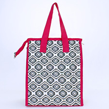 Pink & Gray Aztec Geometric Insulated Lunch Tote Bag-Lunch Bag