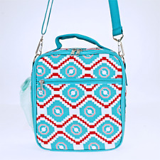 Turquoise & Red  Aztec Geometric Insulated Lunch Tote Bag