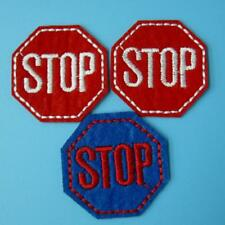3 Stop Traffic Sign Iron on Sew Patch Applique Badge Embroidered Biker Applique.