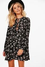 Boohoo Womens Ashley Tie Front Floral Printed Shift Dress