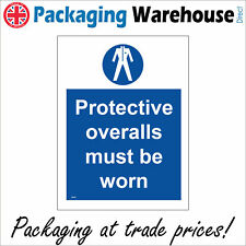 PROTECTIVE OVERALLS MUST BE WORN SAFETY STICKER RIGID MA186 INDOOR OUTDOOR SIGN