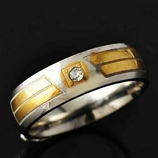 Womens Mens Gold F Stainless Steel CZ Band Wedding Ring Size 8 9 10 11 Vintage