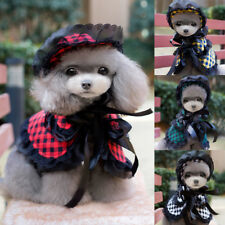 Pet Dog Plaid Clothing Dress Coakst Puppy Lace Hat Princess Wig Costume Cosplay