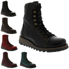 Womens Fly London Same Rug Leather Combat Wedge Heel Military Ankle Boots UK 3-9