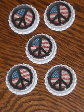 5 Americana Red White and Blue Flag Peace Sign White Bottle Caps Party Favors