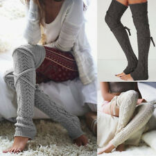 Women's Plain Warm Knit Extra Long Boot Socks Soft Over Knee Thigh High Stocking