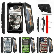 For CoolPad Catalyst | CoolPad 3622A Holster Clip Stand Case USA Skull