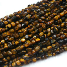 Natural Genuine Yellow Tiger's Eye Small Nugget Free Form Stone Beads