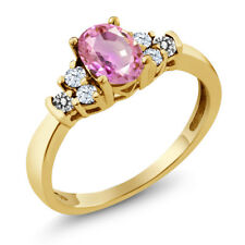 0.84 Ct Oval Pink Sapphire White Topaz 18K Yellow Gold Plated Silver Ring