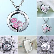 DIY Living Memory Floating Glass Round Heart Locket Crystal Pendant Necklace Hot