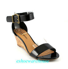 Black Patent  Cutie Ankle Strap Trend  Low Mid Wedge Single Band Sandals Shoes