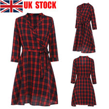 UK Women Lady Warp V Neck Plaid Strappy Belt Party Casual Midi Swing Shirt Dress