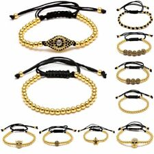 Fashion Gold Plated Charm Copper Ball Beads Adjustable Bangle Bracelet Jewelry
