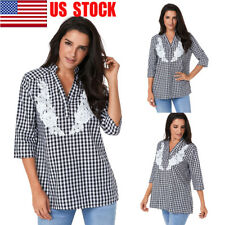 US Women V-Neck Plaid Collar Shirt Casual Tops 3/4 Sleeve Loose T-Shirt Blouse