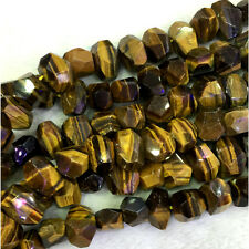Natural Genuine Yellow Tiger Eye Hand Cut Faceted Nugget Free Form Big Beads