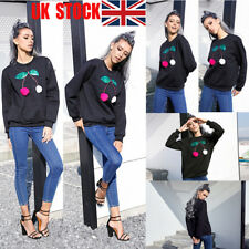 UK Womens Long Sleeve Pullover Hoodies Sequin Casual Tops Winter T Shirt Blouse
