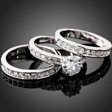 3in1 Man Women Crystal CZ White Gold Plated GP Engagement Wedding Band Rings