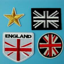 4 Patch England Flag UK Iron on Sew EMBROIDERED Badge Applique Biker Motif Star