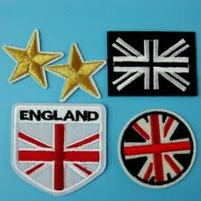 5 Patch England Flag UK Iron on Sew EMBROIDERED Badge Applique Biker Motif Star