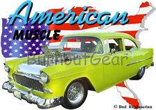 1955 Yellow Blown Chevy Sedan Custom Hot Rod USA T-Shirt 55 Muscle Car Tee's