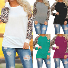 UK Plus Size 6-22 Ladies Casual Stretch Leopard Print Pullover Shirt Blouse Tops