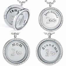 Family Grandma Living Memory Floating Charms Glass Round Locket Pendant Necklace