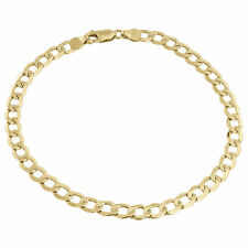 Mens or Ladies 10k Yellow Gold Flat Cuban Curb 5.50 mm Link Bracelet 8-9 Inches