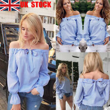 UK Women Off Should Striped Top Long Flared Sleeve Party T Shirts Bow Tie Blouse