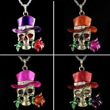 Punk Gothic Skull Rose Long Sweater Chain Pendant Necklace Jewelry Family Gift