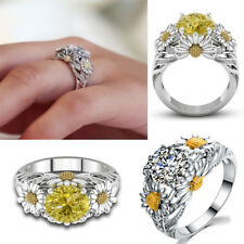 Womens Ladies Sunflower Crystal Diamond Finger Rings Anniversary Jewelry Gifts