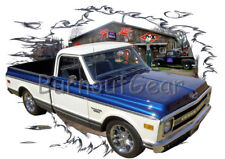 1969 Blue Chevy Pickup Truck a Custom Hot Rod Garage T-Shirt 69 Muscle Car Tees