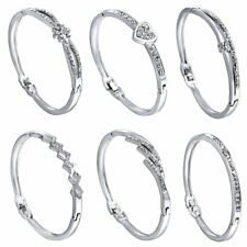 Fashion Women Charms Crystal Rhinestone Love Cuff Bangle Bracelet Jewelry Gift