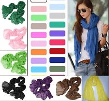 Candy Colors Womens Girls Soft Crinkle Long Pure Candy Scarf Shawl Stole Wraps