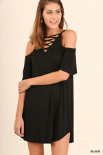 Umgee Tunic Top V-Neck Strappy Cold Shoulder Solid Soft Knit Casual Loose