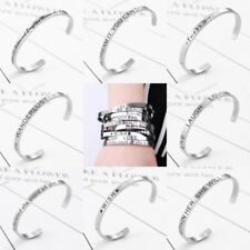 Stainless Steel Silver Engraved Letter Cuff Bangle Bracelet Jewelry Family Gift