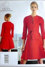 VOGUE V1317 CHADO RALPH RUCCI MISSES' DRESS w/FRONT TIE SEWING PATTERN SIZE 8-24