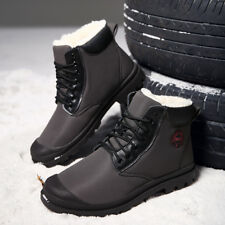 Men's Martin Boots Velveteen Leather New Ankle Boots Winter Outdoor Lace Up a158