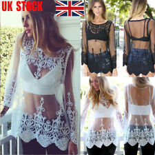 UK Womens Floral Mesh Sheer See-through Lace Mini Dress Long Sleeve Crochet Tops